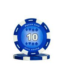 Blauwe kleur pokerchips 10
