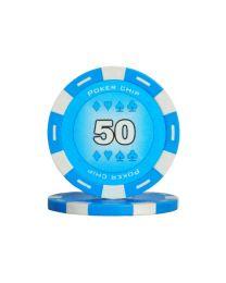 Blauwe kleur pokerchips 50