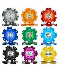 Pokerkoffer kleur chips 500