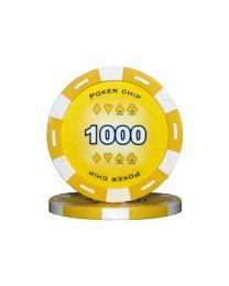 Gele kleur pokerchips 1000