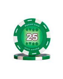 Groene kleur pokerchips 25