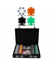 Lederlook poker set met 200 Dice chips