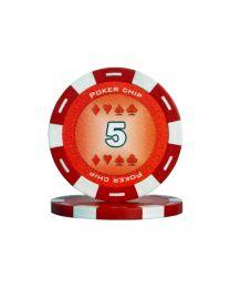 Rode kleur pokerchips 5