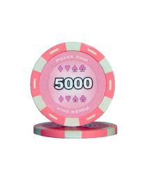 Roze kleur pokerchips 5000