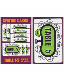 Seating Cards: Table 1-5 voor Poker Toernooien