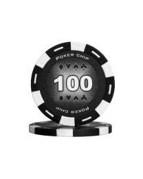 Zwarte kleur pokerchips 100