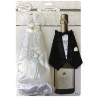 Bruid en Bruidegom champagneflessen covers